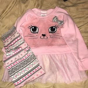 Girls matching kitty set